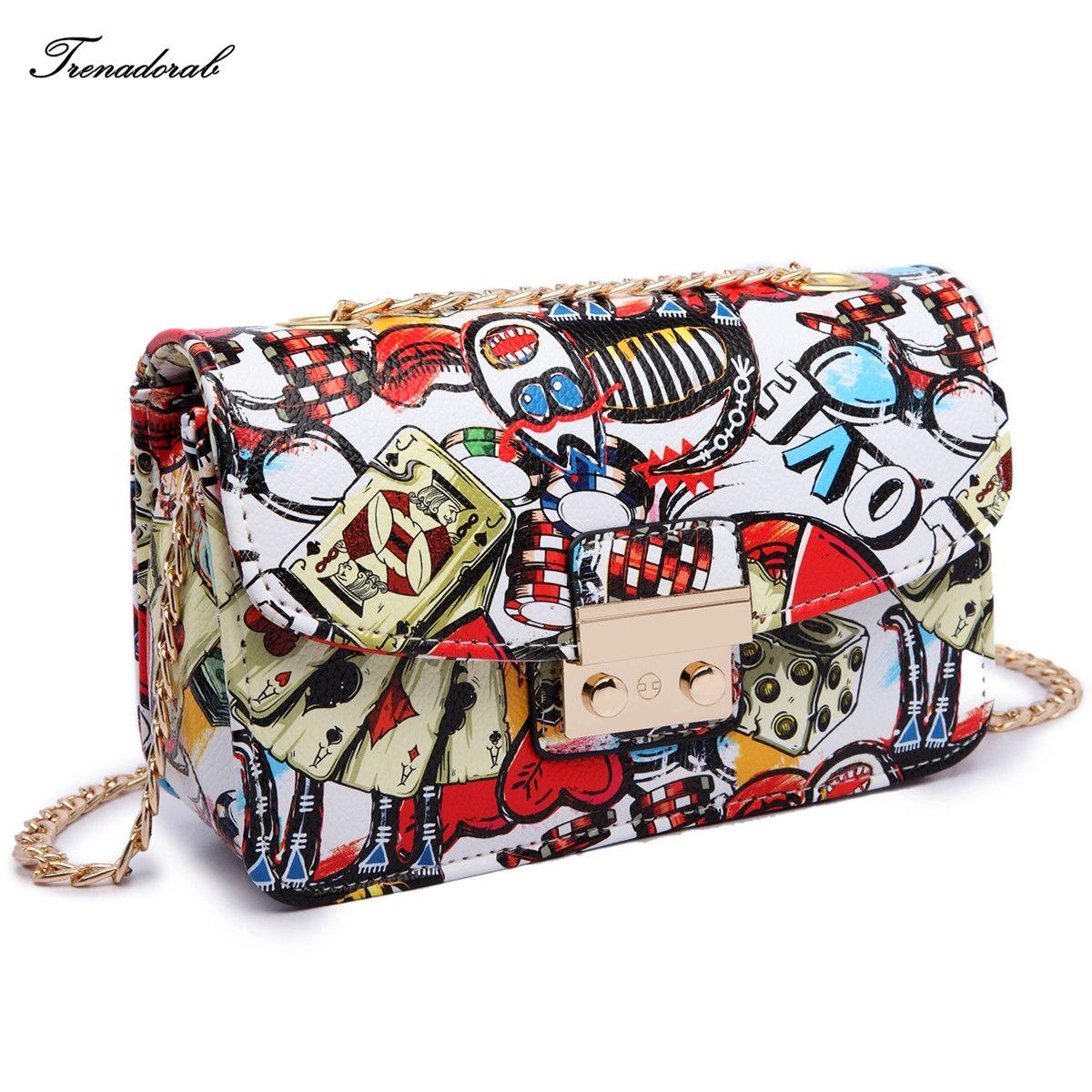 2bdb9bc796 Trenadorab Brand Print Crossbody Bags Ladies Chain Beach Bags Love Graffiti  Messenger Bags For Lady Clutch Designer Handbags SAC.