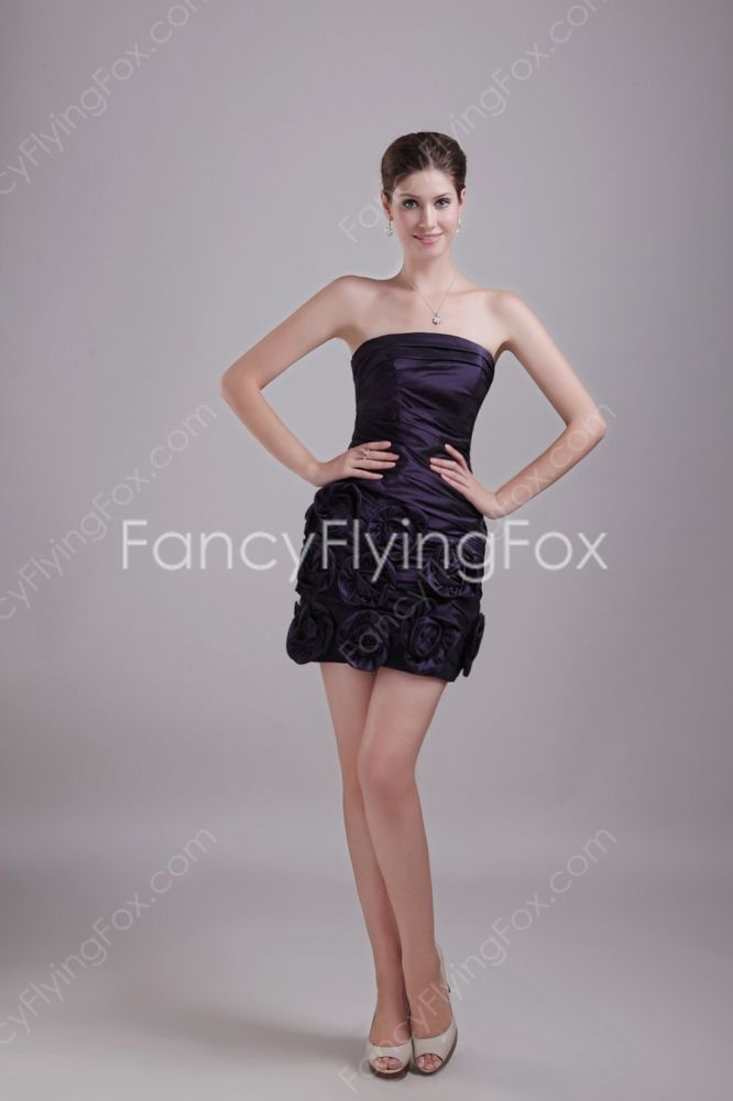 f007f642d6 Mini Length Dark Purple Taffeta A-line Mini Length Short Quinceanera ...