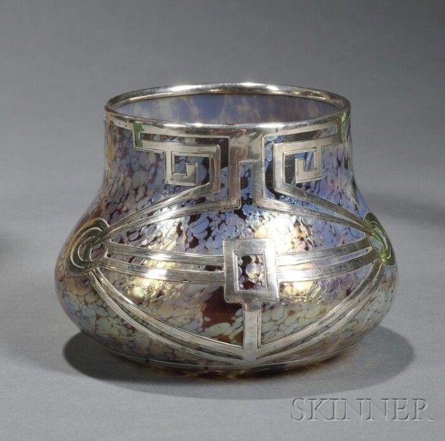 Loetz Silver Overlay Vase, iridescent glass