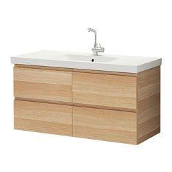 GODMORGON / ODENSVIK Kast wastafel 4 lades - wit gelazuurd eikeneffect - IKEA