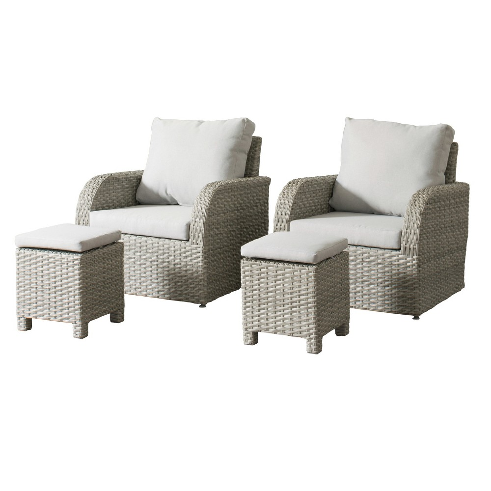 Phenomenal Brisbane 4Pc Resin Wicker Chair And Ottoman Patio Set With Ibusinesslaw Wood Chair Design Ideas Ibusinesslaworg