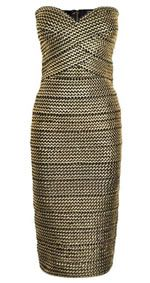 Forever Unique Mila Dress via Cruise Black and Gold Metallic Weave