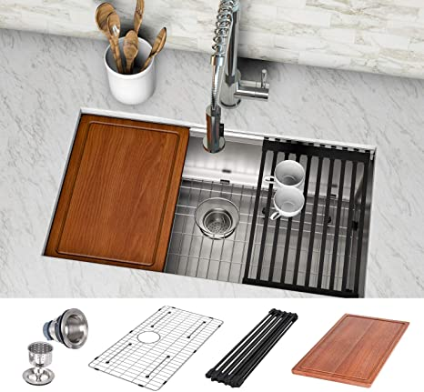 Hykolity 30 Inch Workstation Undermount Kitchen Sink 16 Gauge Single Bowl Stainless Steel Sink Wit Stainless Steel Sinks Undermount Kitchen Sinks Kitchen Sink