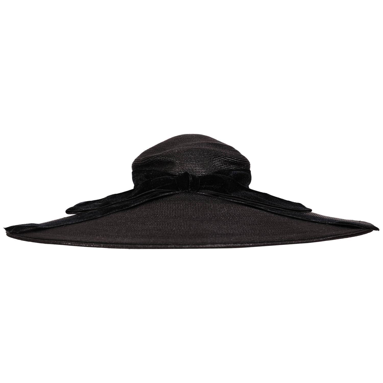2dc239e5fab 1950 s Fine Black Straw Broad Brimmed Picture Hat
