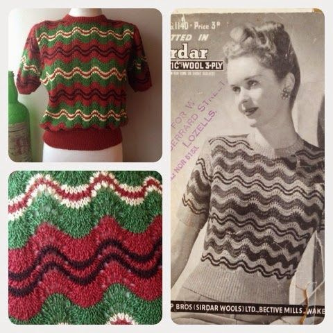 1940\'s Style For You: Sirdar 1140 - 1940s Striped Jumper   Vintage ...