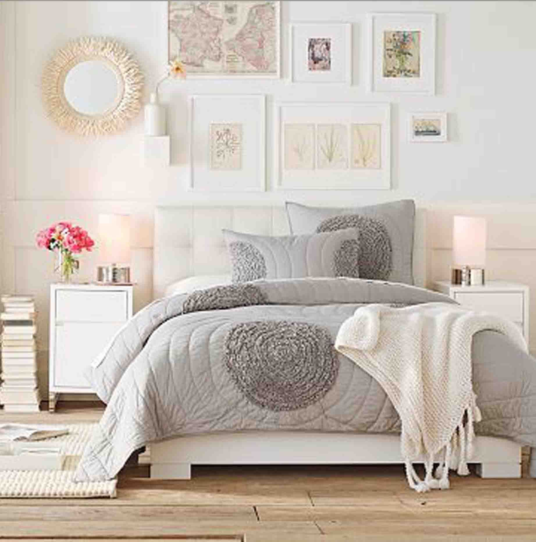 Light and bright bedroom ideas. Grey, nutral, white, feminine.
