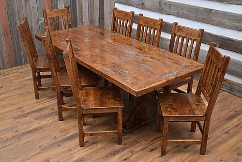 San Juan Trestle Table Southwestern Dining Chairs Wooden Dining