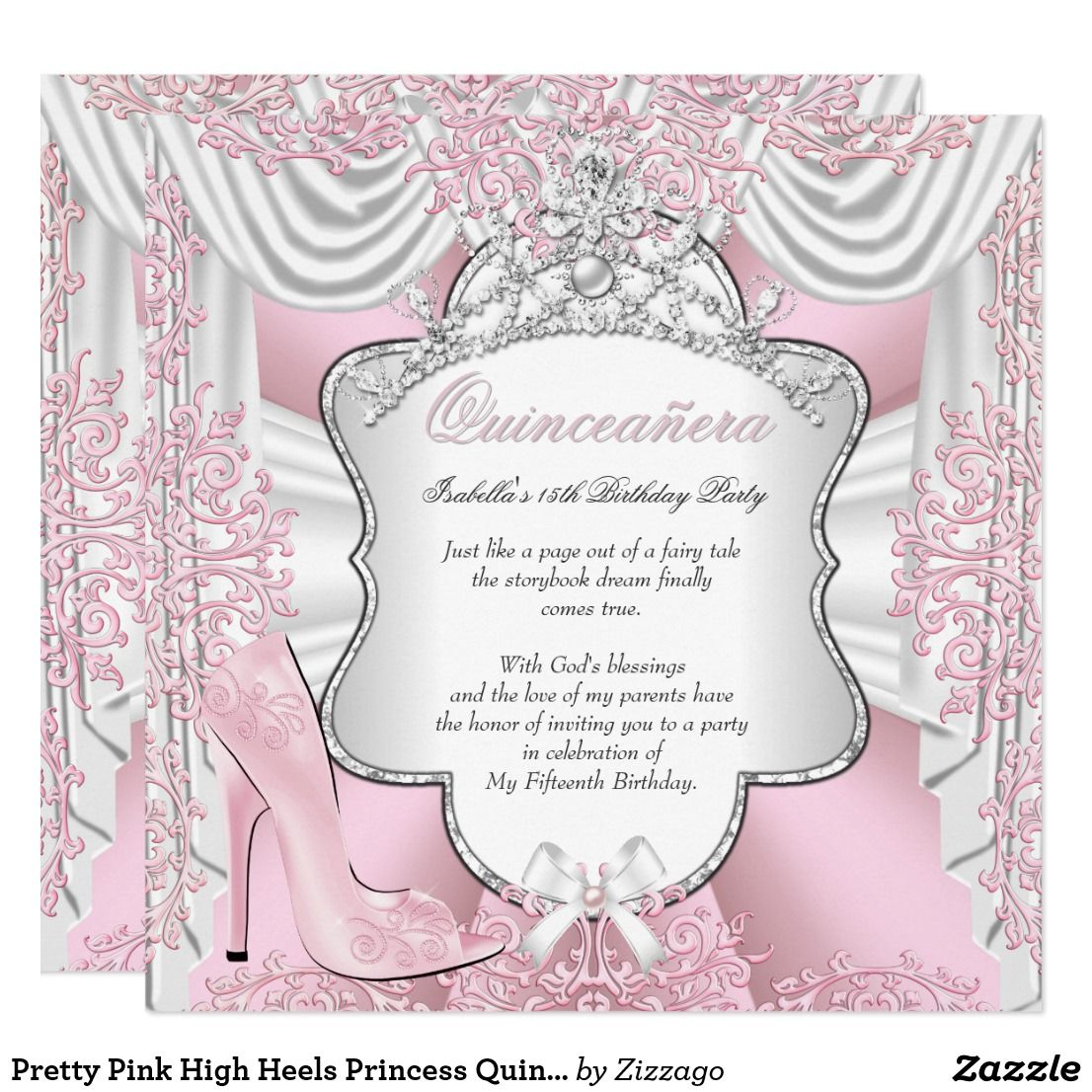 Pretty Pink High Heels Princess Quinceanera 15th Invitation ...