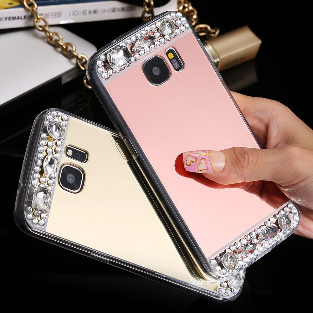 S7 Edge Shiny Crystal Diamond Mirror Case For Samsung Galaxy Miror Acrylic Back Clear Frame Bling Protective Girly Cover