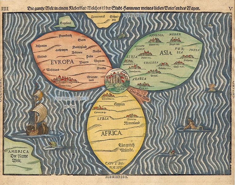 Stylized world map in the shape of a clover-leaf (the three - new world map of africa