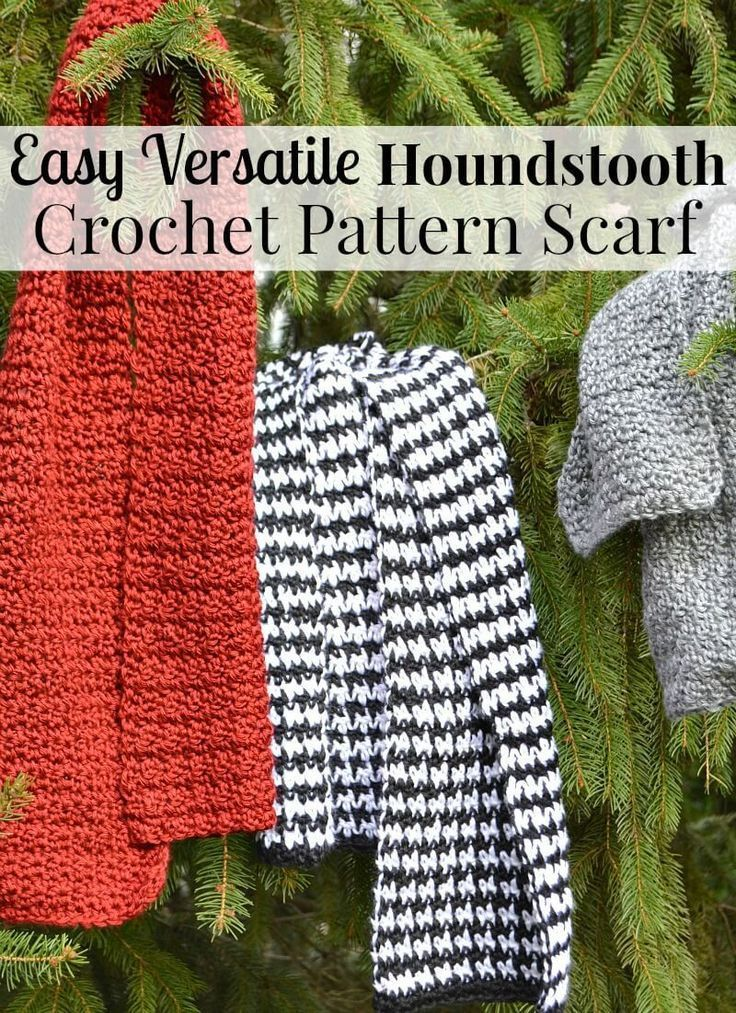 Easy Houndstooth Crochet Pattern Scarf | Houndstooth, Yarns and Scarves
