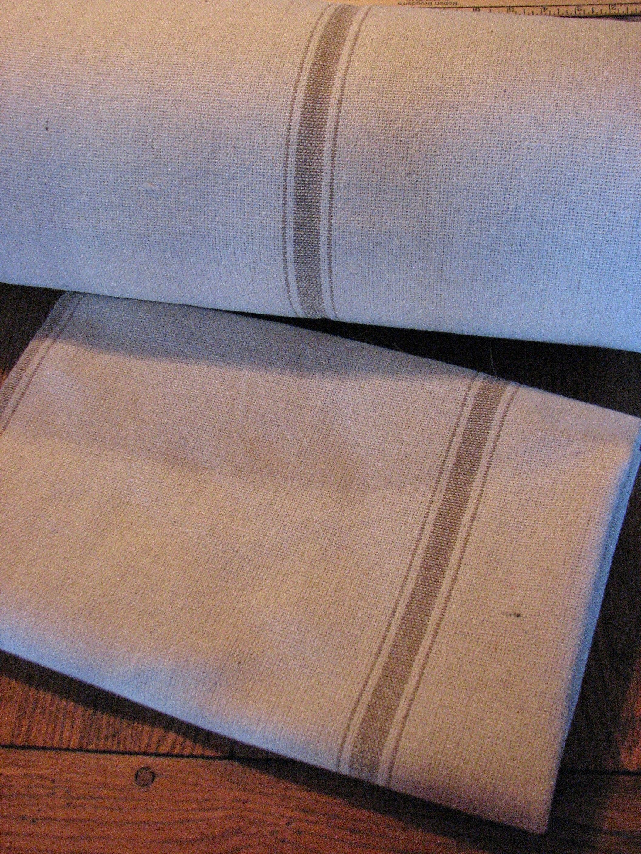 1 Yard of Tan Stripe Feedsack Fabric