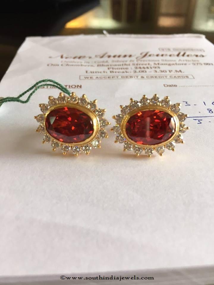 Gold Ear Studs Stone Designs Indian Jewelry Earrings