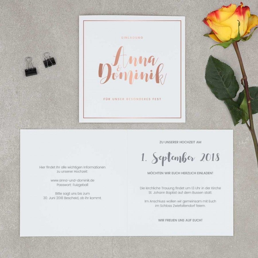 Kalligraphie quadratische Einladungskarte