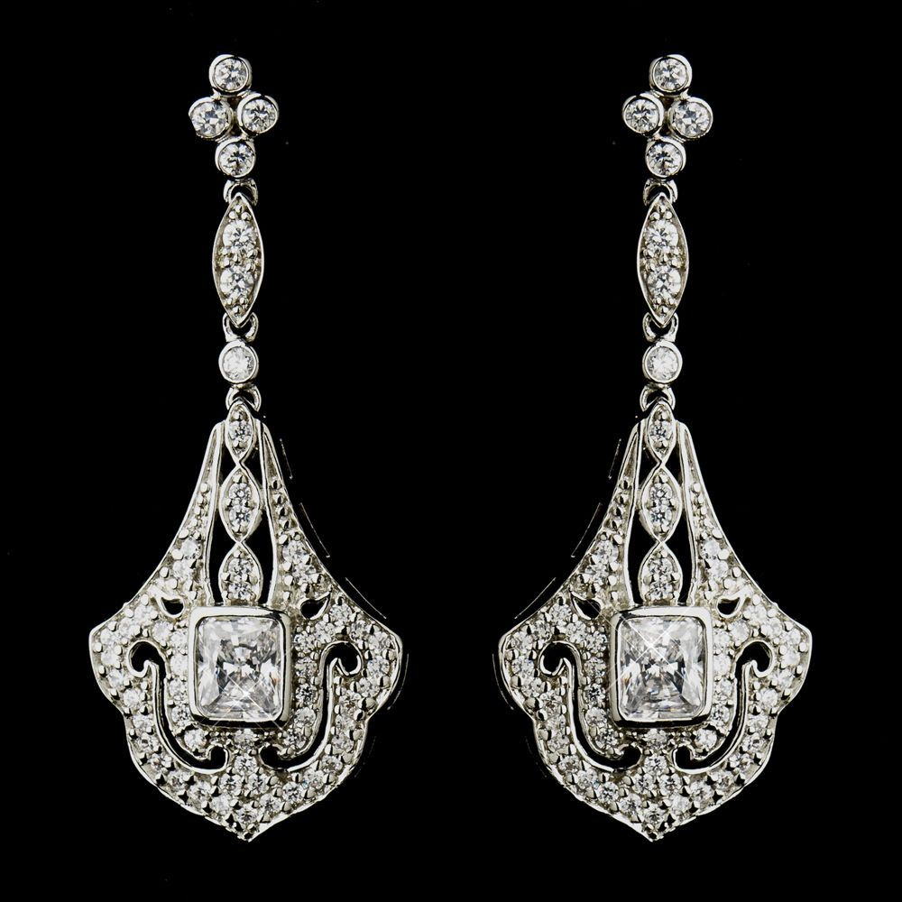 Silver cubic zirconia cz crystal formal prom bridal art deco silver cubic zirconia cz crystal formal prom bridal art deco chandelier earrings arubaitofo Choice Image