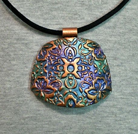 Polymer clay pendant texture copper metallic green blue purple #121   Flickr - Photo Sharing!