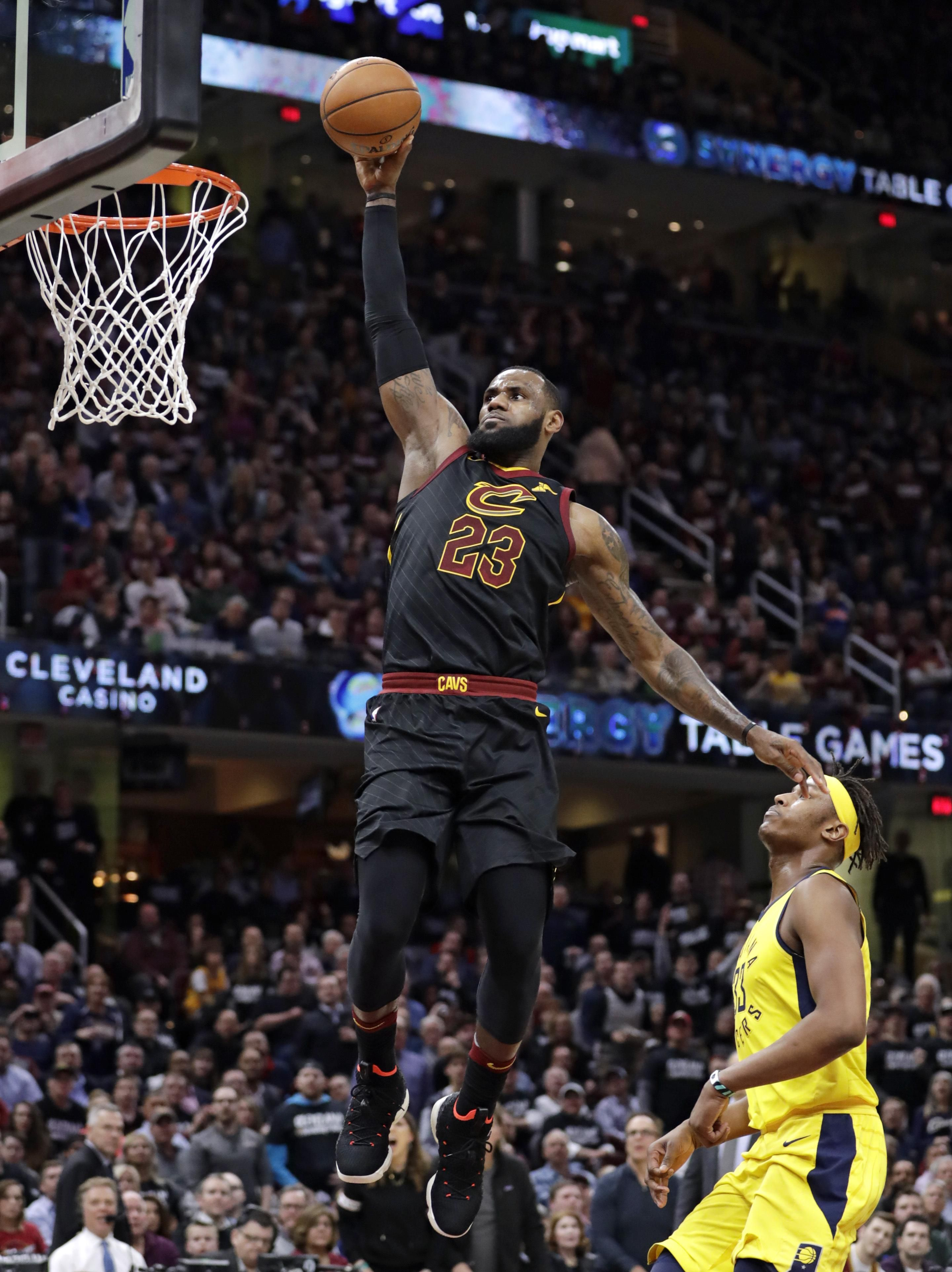 James also added 12 rebounds as Cavaliers beat Pacers 100