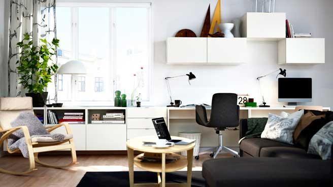 Petits Espaces  J'installe Mon Bureau Dans Le Salon Endearing Ikea Small Living Room Design Ideas Design Ideas