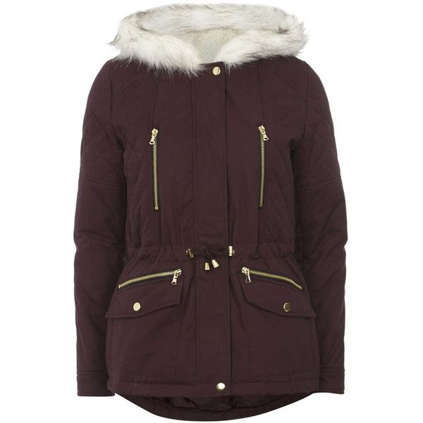 Dorothy Perkins Raisin Short Cotton Parka Jacket ($68) ❤ liked on ...