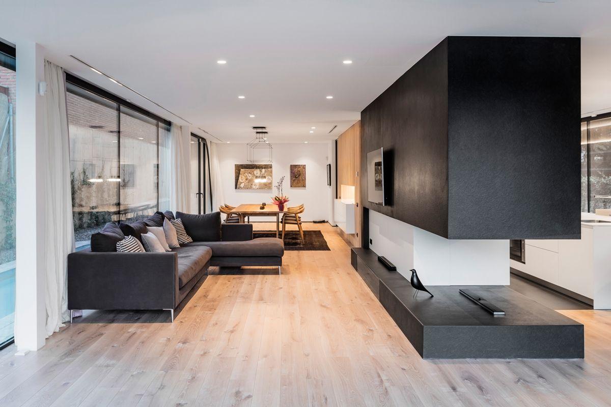 modernes wohnzimmer minimalistisch abgehängte decke einbauleuchten ...
