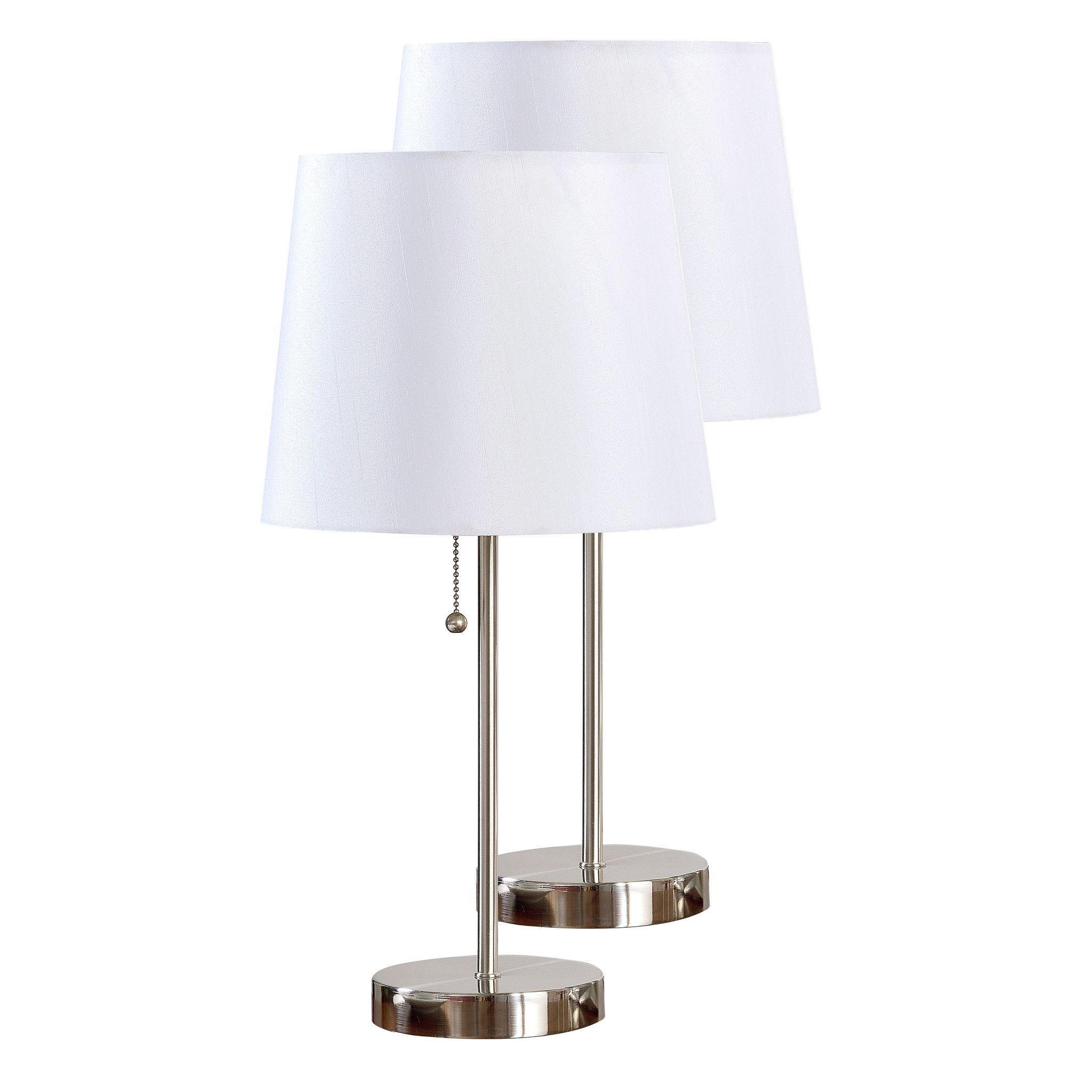 Ailani Table Lamp Set, Brushed Nickel Metal & White Fabric