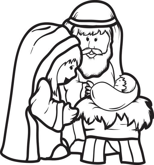 FREE Cartoon Printable Christmas Coloring Page For Kids Of Mary Joseph And Baby Jesus
