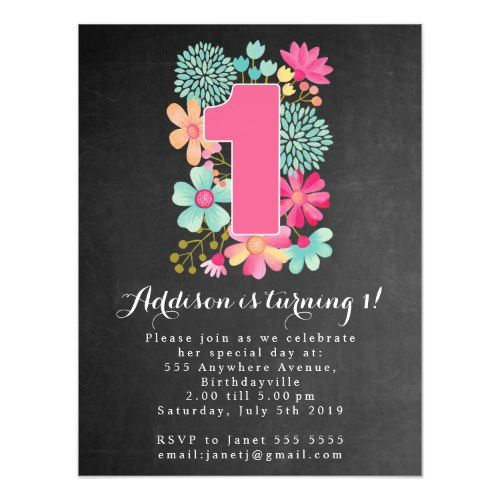 MAGNET Chalkboard Girls 1st Birthday Party Magnetic Card 1st