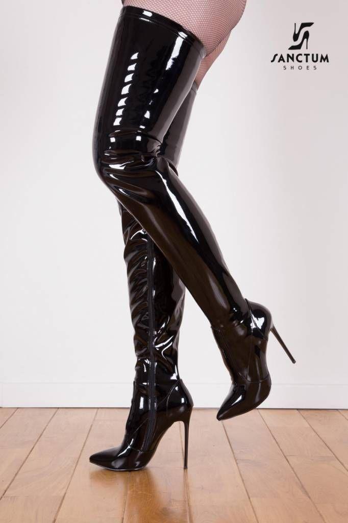 3f1a32fdd25e Black Shiny Giaro Elegant 12cm Heeled Thigh High Boots Shoebidoo ...