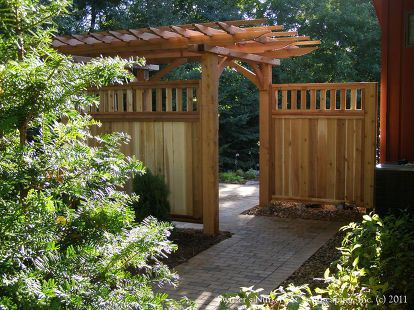 built in privacy custom built cedar screens added to pergola, landscape, outdoor living, Up close it is easy to see where to go the smooth transition A wonderful gateway to your backyard paradise