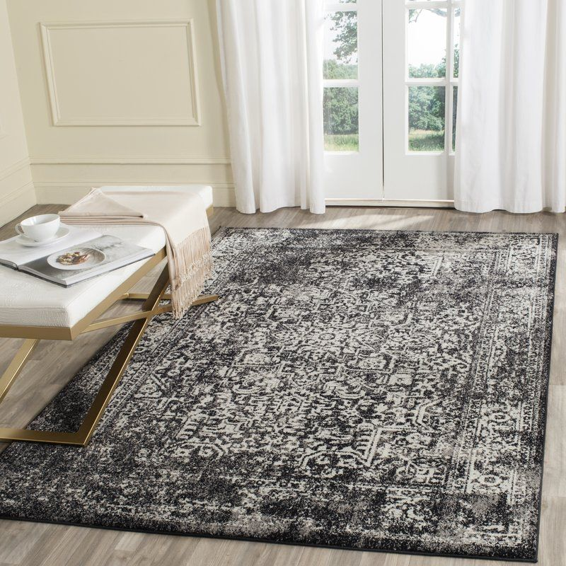 Elson Persian Inspired Black Grey Area Rug With Images Black