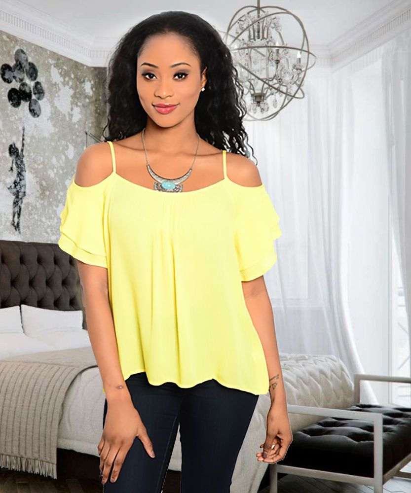 Women's Yellow Open Cold Shoulder Top Blouse  #Other #Blouse #Casual