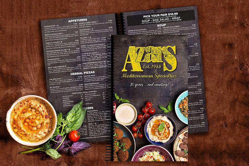 Azar Mediterranean Specialties Menu Spiral Bound Food