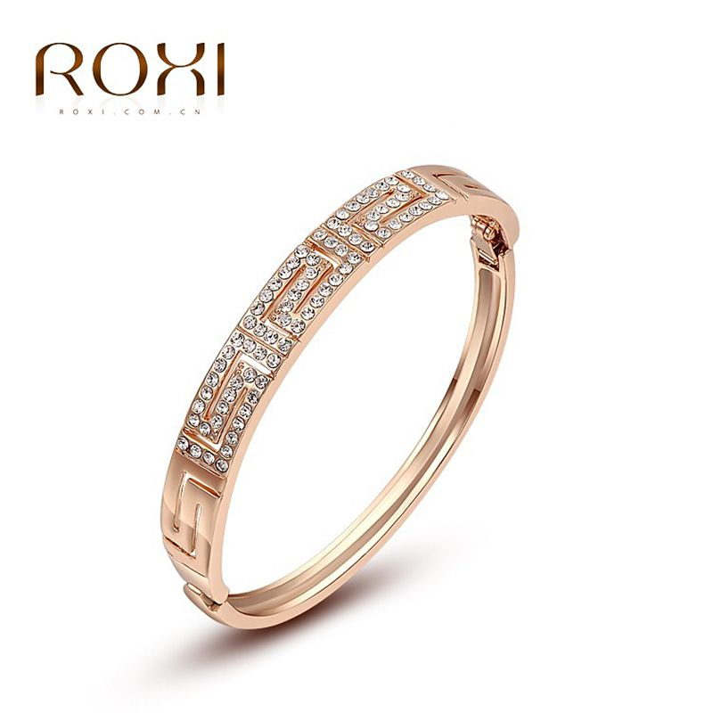2017 ROXI Rose Gold Color Bracelets Ancient Wide Loops High Quality
