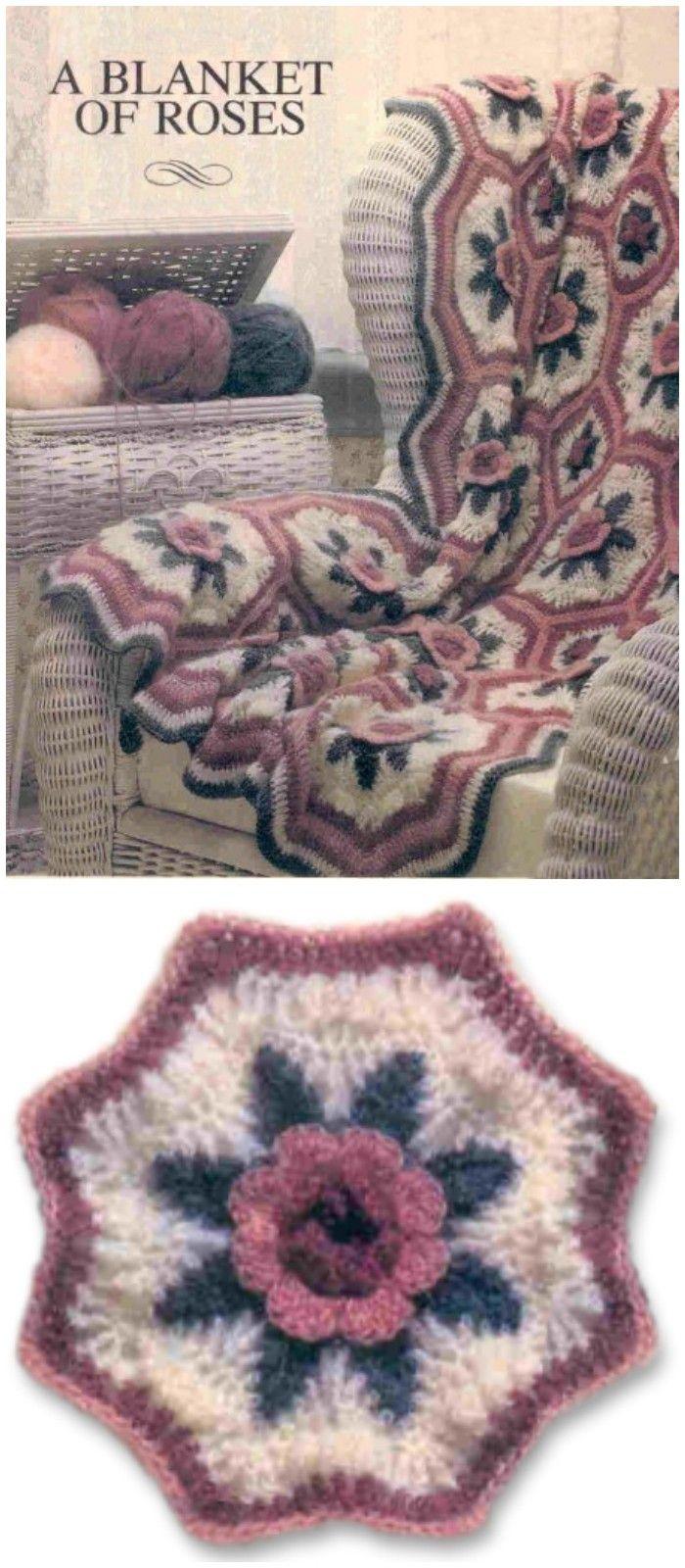 EASY Afghan Crochet Pattern \u2022 Vintage 1970s FLOWER Crochet Pattern \u2022 Crochet a Flower Garden \u2022 Bohemian Home Decor \u2022 Watermarked PDF Only