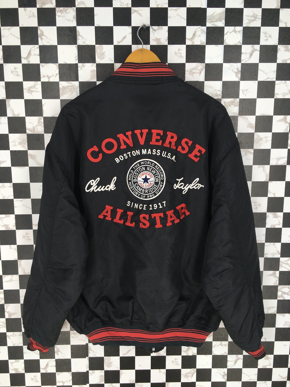 Converse Jacket Xlarge Vintage 90s Converse All Star Streetwear Converse Chuck Taylor Black Windbreaker J Converse Jacket Black Windbreaker Vintage Denim Jeans