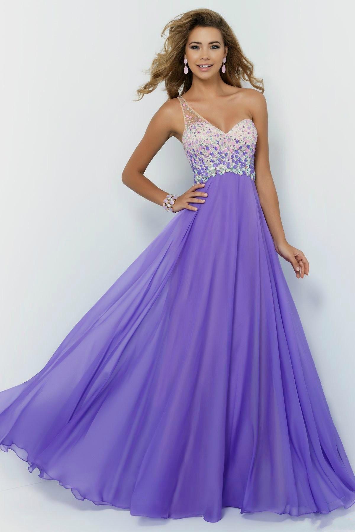 Stunning long prom dresses one shoulder evening dress aline