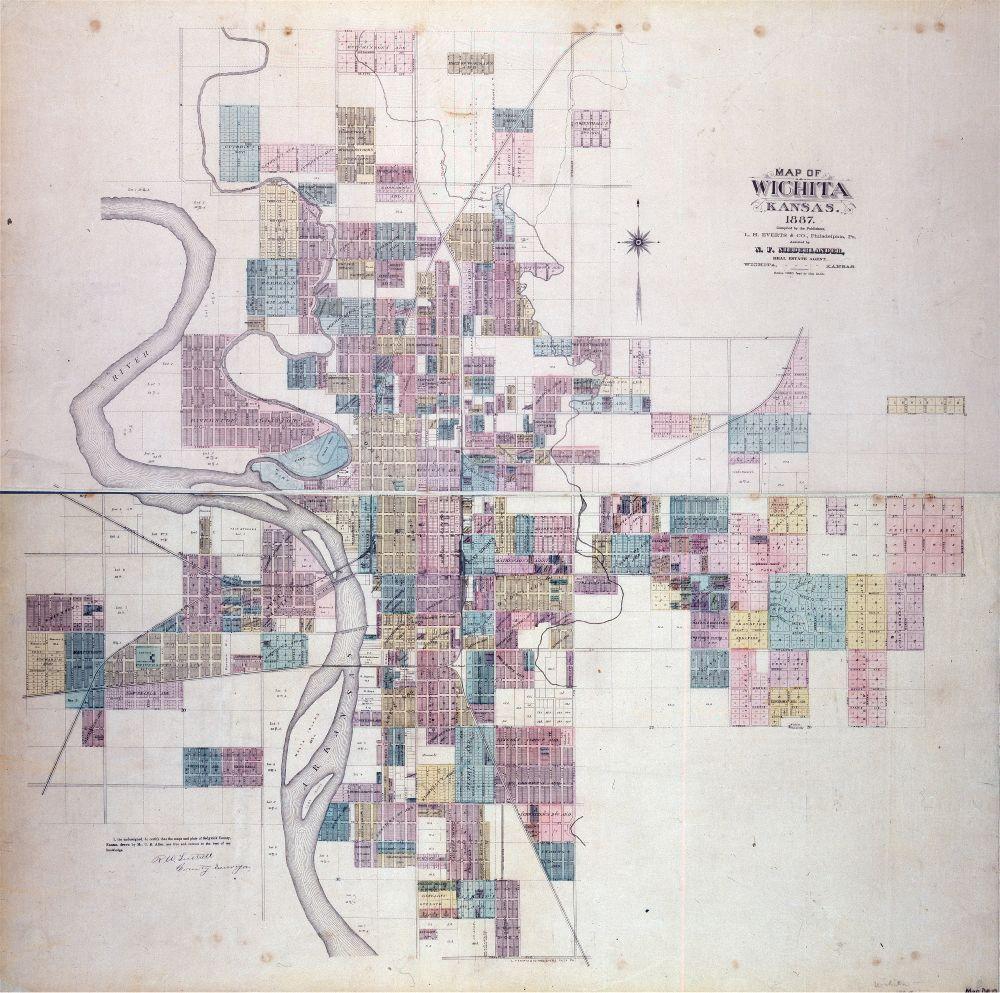 1887 Map of Wichita Kansas Historical Society infographics