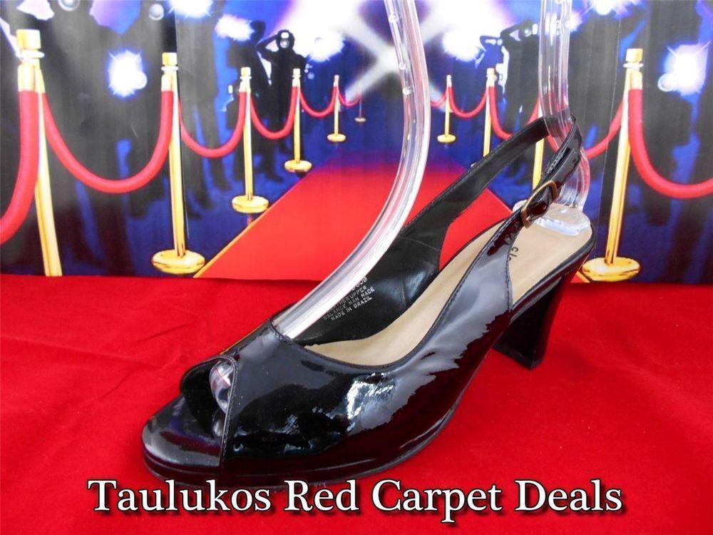 8356e7f9d9a8 Womens shoes CLOUDWALKERS Black LEATHER high heels Slingback Pump peep-toe  8 W  Cloudwalkers  Slingbacks  ForSale  Fashion  RedCarpet