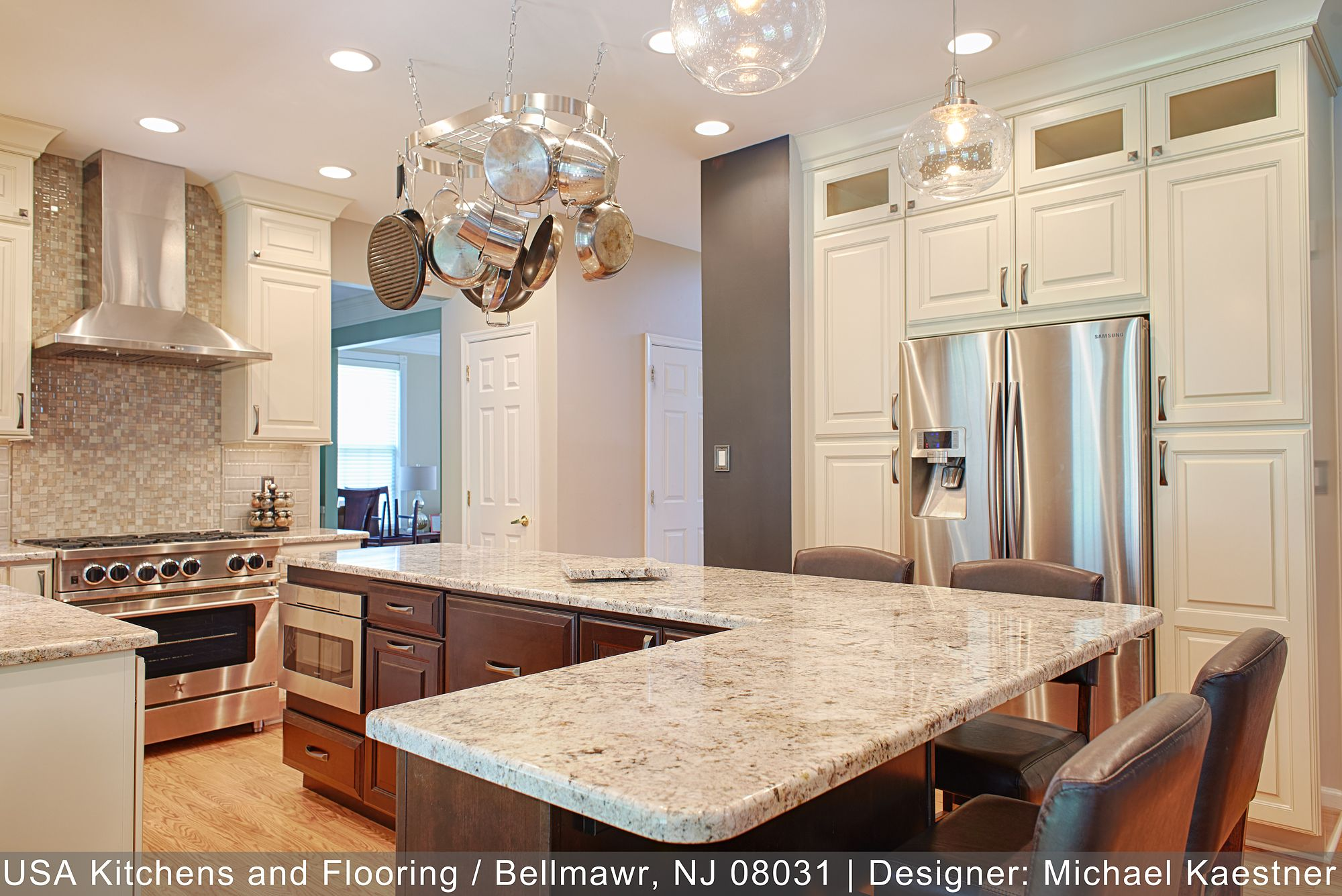 Bright And Open Concept Kitchen Includes A Expansive Kitchen Island In An Accent Color F Kitchen Design Open Concept Kitchen Kitchen Cabinets And Countertops