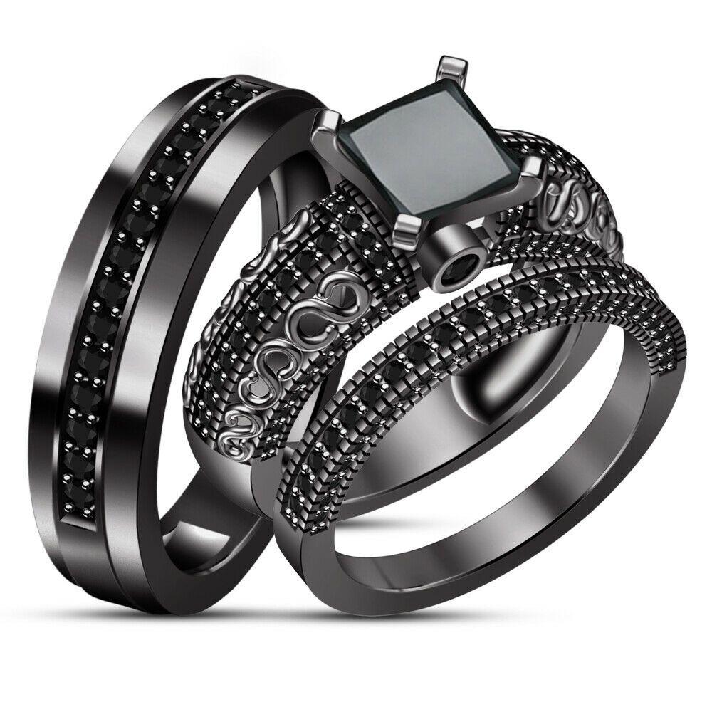 14k white gold over black diamond engagement ring his her