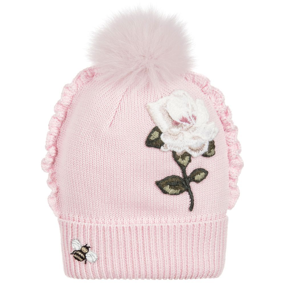 744949ef5 Girls Pink Knitted Pom-Pom Hat for Girl by Monnalisa Chic. Discover ...