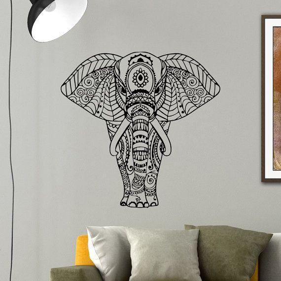 Elephant Wall Decal Vinyl Sticker Yoga Indian Elephant Animal Wall