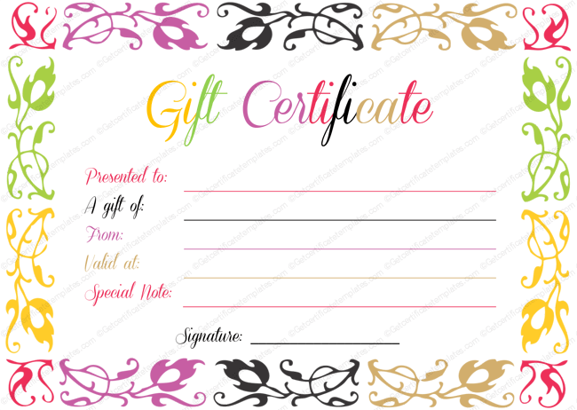 Birthday Gift Certificate Templates By Www