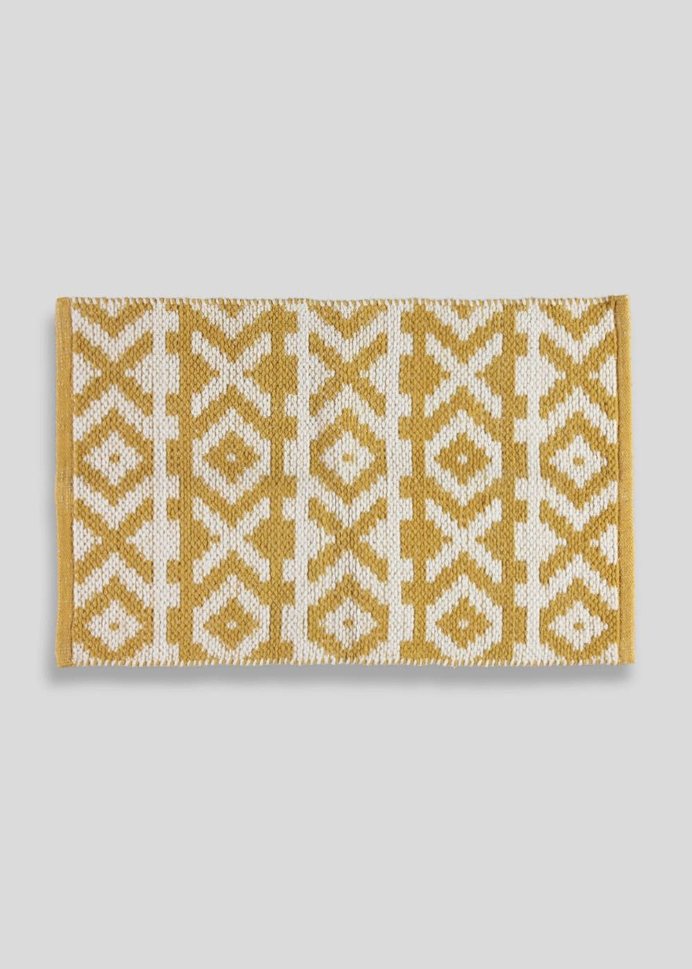 Geometric Bath Mat 80cm X 50cm Mustard In 2020 Bath Mat