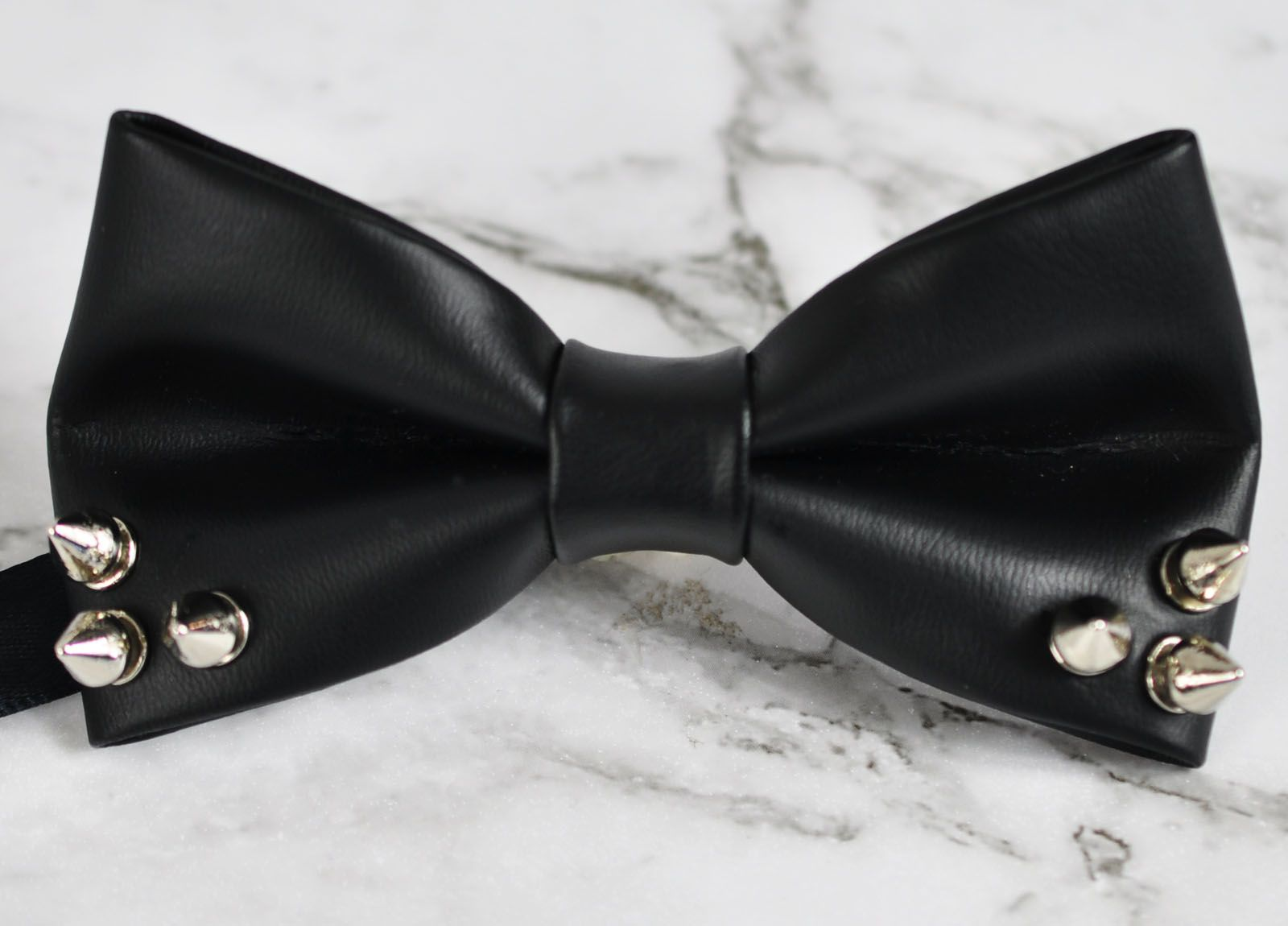 Men Women Black Faux Leather Rivet Punk Style Bowtie Bow Tie Dance Wedding Party