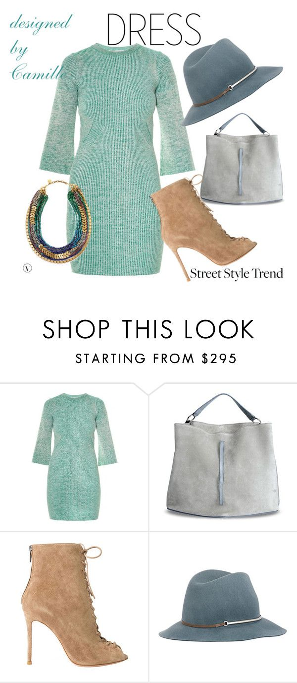 """between blue & brown"" by greenacres1124 on Polyvore featuring STELLA McCARTNEY, Maison Margiela, Gianvito Rossi, Janessa Leone, Stella & Dot and bellsleevedress"