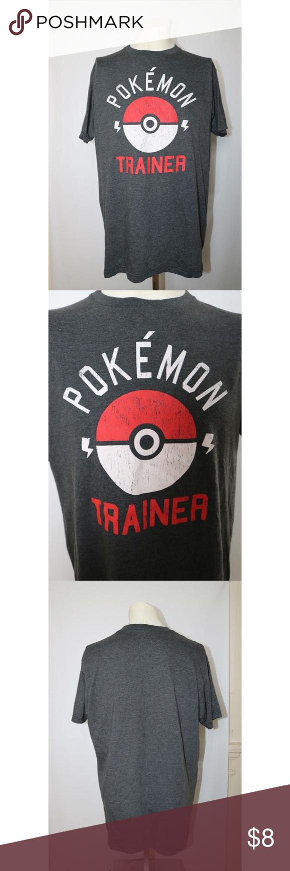 1392418c Pokemon Men's T-Shirt Poke Ball Size L Gray Pokemon Trainer T-Shirt Gray