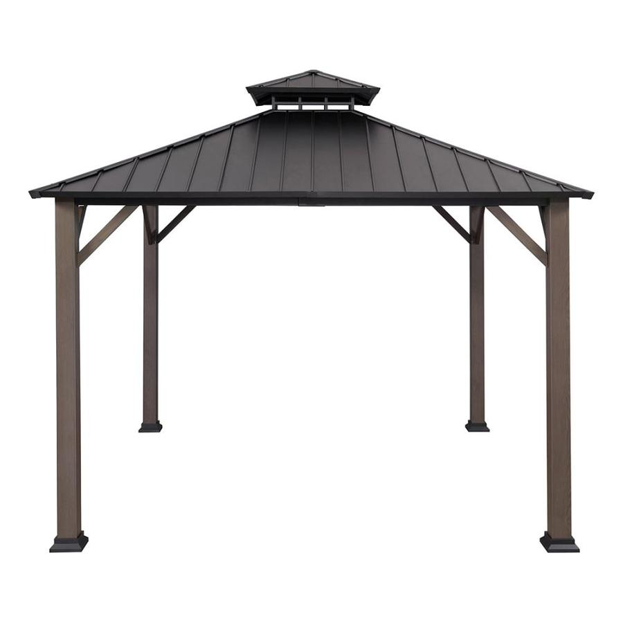 Allen Roth Black Woodgrain Metal Square Gazebo Exterior 10 925 Ft X 10 925 Ft Foundation 10 Ft X 10 Ft Lowes Com Gazebo Patio Gazebo Backyard Renovations