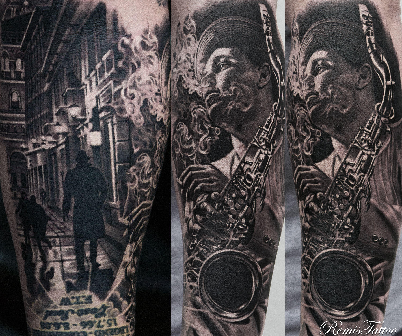 Black And Grey Portrait Tattoo By Remis, Remistattoo