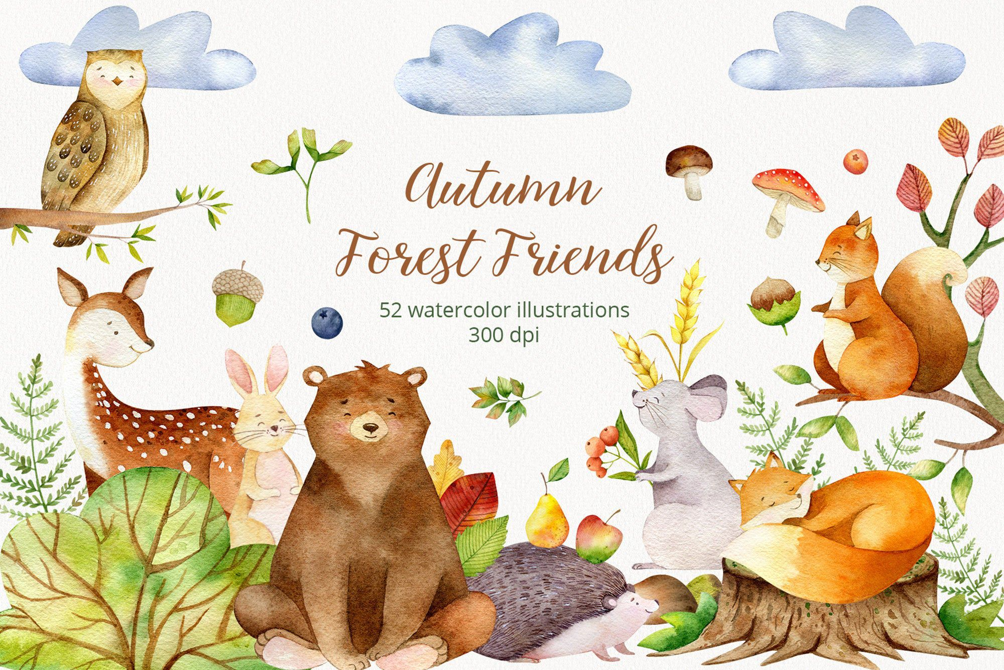 Watercolor Forest Baby Animals Clipart. Woodland nursery clip ...